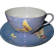 Early, RARE Blue, Lavender, Purple Porcelain Lusterware Cup and Saucer with hand painted Butterflies, MEITO, Japan