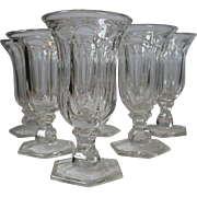 Rare, Vintage Set of 6 Heisey Clear Depression Glass Cordials, Puritan Colonial Pattern
