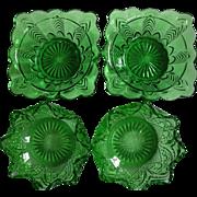 FLASH SALE ITEM!  Set of 4 Vintage, Dark Emerald Green, Depression Glass Bowls