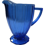"Vintage Cobalt Blue Hazel Atlas ""Newport Harpin"" Depression Glass Pitcher, Circa 1936-1940"