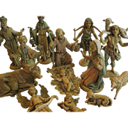 Vintage, Early Fontanini Nativity Figurines, 14-Piece Set, Italy, Spider Marks