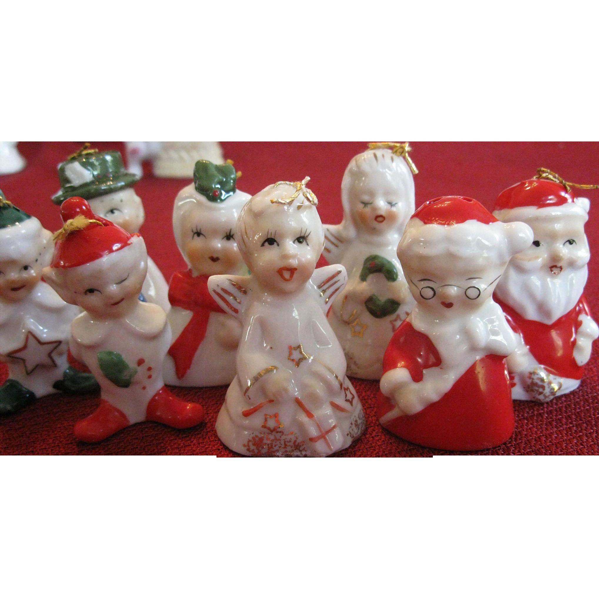 Vintage Set of 8 Yuletide Novelty Porcelain Tree Ornaments, Japan ...