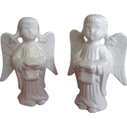 Figurines, Pair of Vintage White Porcelain Singing Angels with Pigtails, 1953