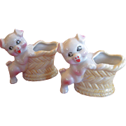 Summer Bar-B-Que!   Pair of Vintage Tooth Pick Holders, Pigs with Baskets