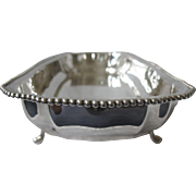 Vintage Edward San Giovanni Silver Plate Footed Tray, Beaded Trim, Rectangular, 1940-1950