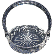 Early, Cut Crystal Glass Basket with Handle, Vintage Bride's Basket