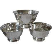 Set of 3 Vintage Paul Revere Silver Plate Footed Compote Bowls