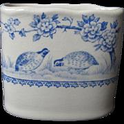 "Antique, Furnivals, ""Blue Quail"" English Porcelain Cigarette Holder, circa 1913, Transferware, Vase"