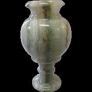 Large, Vintage, Marbleized GREEN Alabaster Vase Urn Compote, Italy