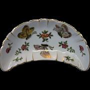 Vintage, Butterfly Bone Dish, Hand-Painted, Kutani-Style Porcelain, Japan, 22K Gold Accents