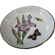 Vintage, Royal Worcester Bone China Wine Coaster Dish, Purple Iris, Butterfly, and Bee, circa 1950-1956