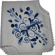 Vintage, Delft, Hand- Embroidered Linen Bread Liner Cover