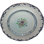 Early, Adams, Calyx Ware Dinner Plate, Lowesoft, Hand-Painted Pattern #2546, England, Flowers, Floral, Trellis, Gold, Blue, Green, Glaze