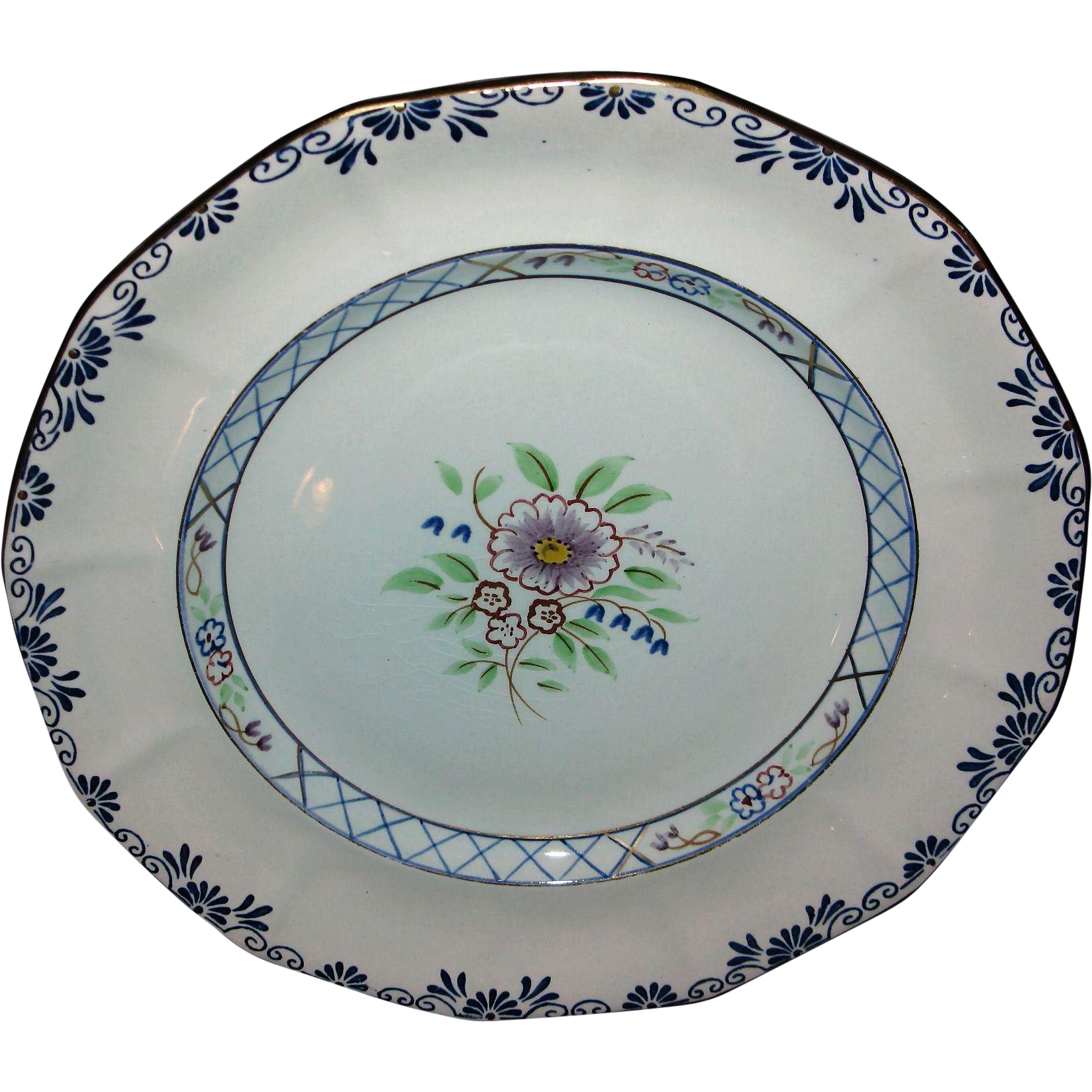 Early Adams Calyx Ware Dinner Plate Lowesoft Hand