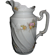 Early, Bone China, Ruffled Milk Pitcher, Hand-Painted, signed