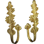 HUGE, Pair of Vintage solid Brass Curtain Drapery Tie Backs Holders, Leaves
