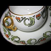 ON HOLD FOR RACHELLE!!  Rare, Hand Painted, Art Nouveau Bouillon Soup Cup & Saucer, circa 1884-1939, M Z Austria, Eagle Austria