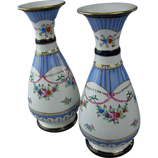 HUGE Pair of Hand Painted, Porcelain Mantel Vases, Urns, Vintage