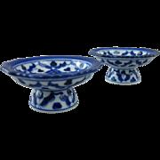 Pair of Cobalt Blue & White Open Salt Cellar Pedestals, Salt Dips