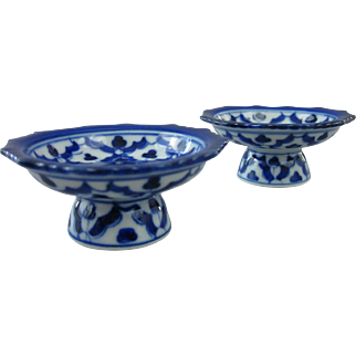 Pair of Cobalt Blue & White Open Salt Cellar Pedestals, Salt Dips
