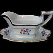 "Vintage, Adams, Calyx Ware Gravy Boat with Attached Base, ""Georgian Tulip"" Pattern, circa 1900-1920"