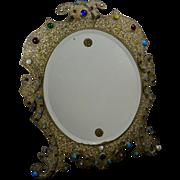 Stunning 19th c. Russian Table Mirror -  Gilt - Gems - Enamel