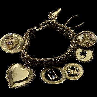 Heavy Vintage 14k Gold - 8 Charm Bracelet - Big Beauty