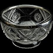 Antique Sterling Silver Rim Bowl Cut Glass - Hallmarked