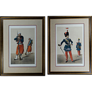 Signed Hand Colored Lithograph Pair of French Garde