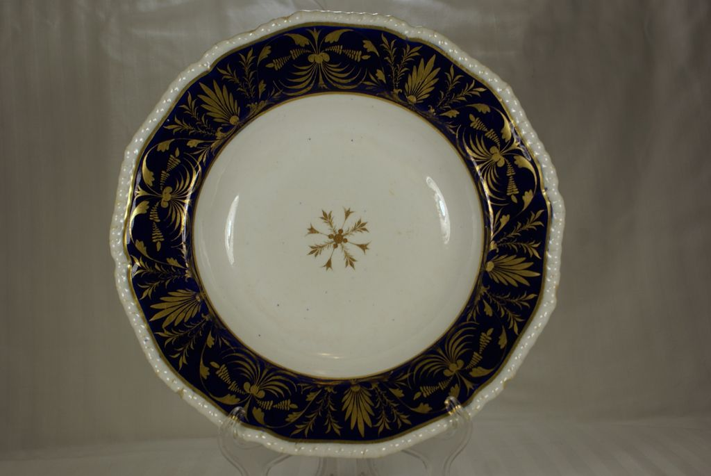 Derby Blue Ground and Gilt Decorated Soup Bowl
