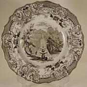 Brown Transferprinted Plate, Enoch Wood, Fountain. 1830s