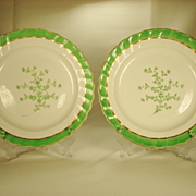 Pair of Derby English Porcelain Plates, Puce Marked C1790