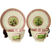 A Pair of Porcelain Teabowls and Saucers, Probably  Liverpool, C 1810