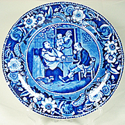 Wilkie's Series Blue and White Transfer Printed Plate, Clews, 1820's