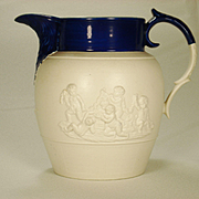 Large Spode Stoneware Relief Decorated Pitcher, C 1810-1820