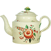 Creamware Strap Handled Teapot with King's Rose Decoration  1770-1780