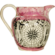 Pink Lustre Nautical Pitcher with Rhyme C 1850