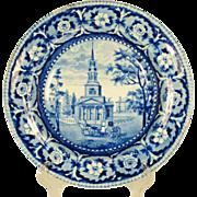 Octagon Church Transferprinted Soup Bowl, 1820's