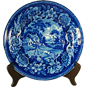 Deep Blue Staffordshire Transfer Printed Plate, Hunter, 1820's