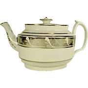English Porcelain Teapot with Silver Lustre Band Decoration, C 1810