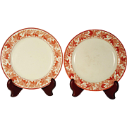 Pair of Small Spode Creamware Plates with Leaf and Berry Border
