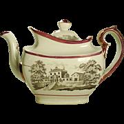 English Porcelain Pink Lustre Teapot, 1820's