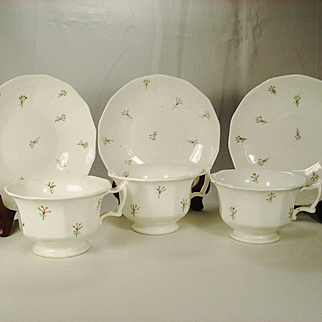 Three Ironstone Cups and Saucers With Sprig Decoration,C1850