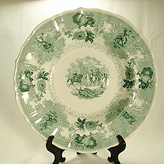 Napoleon's Battle Transferprinted Soup Bowl, C1840