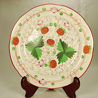 Pearlware Strawberry and Leaf Small plate 1820's