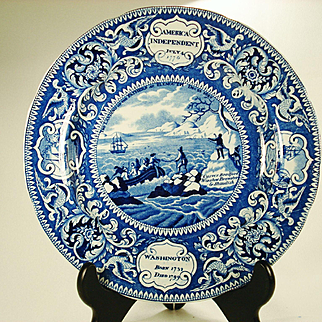 Landing of the Fathers Staffordshire Plate by Enoch Wood, 1820's