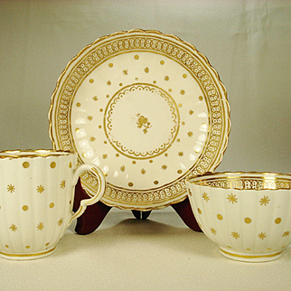 Caughley English Porcelain Trio, 1780's