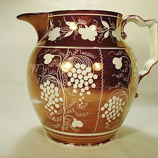 Large Pink Resist Lustre Pitcher with Owner's Name, C1820