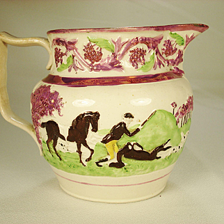 Pink Lustre Hunting Pitcher, C 1820
