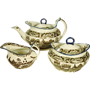 Staffordshire Pearlware Salopian Printed Tea Set, C 1810